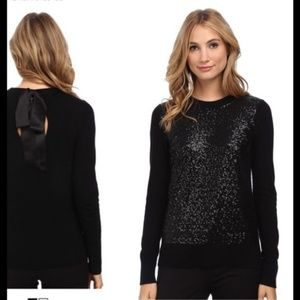 Kate Spade Black Sequin Bow Back Sweater